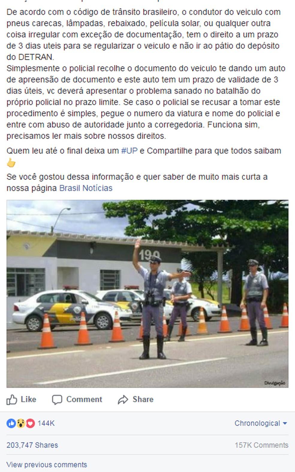Post sobre apreensão de veículos (Foto: Reprodução/ Facebook)