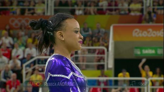 Rebeca Andrade se apresenta nas paralelas pela ginástica artística do Brasil