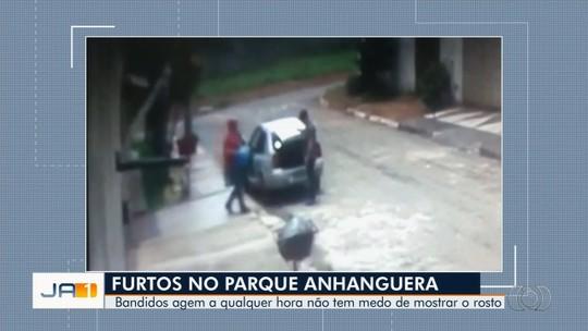 Vídeos mostram criminosos furtando casas no Parque Anhanguera, em Goiânia
