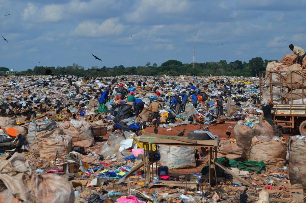 Catadores fazem a separação de todo o lixo que é depositado em Lixão de Porto Velho (Foto: Jheniffer Núbia / G1)