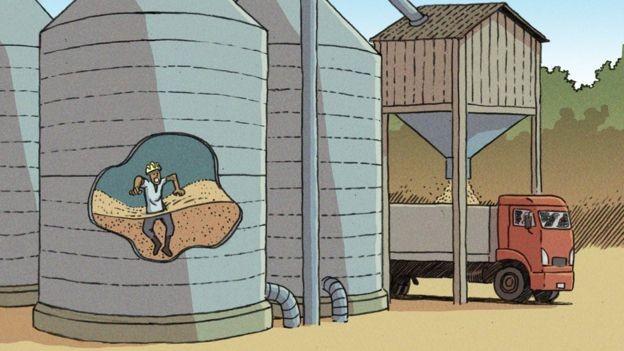 Mortes mais comuns em silos ocorrem quando trabalhador afunda na massa de grãos e é asfixiado (Foto: Vitor Flynn/BBC News Brasil)