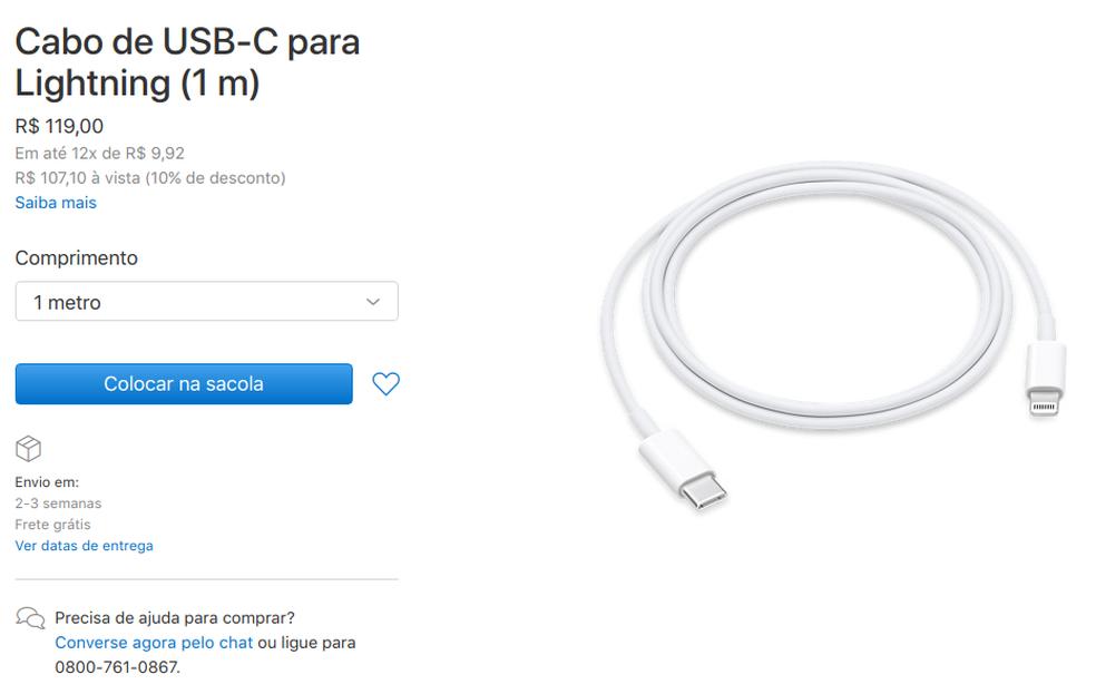 Usuários de iPhones 8, 8 Plus e X precisam comprar carregador potente e cabo compatível separadamente para ter acesso à recarga rápida (Foto: Reprodução/Filipe Garrett)
