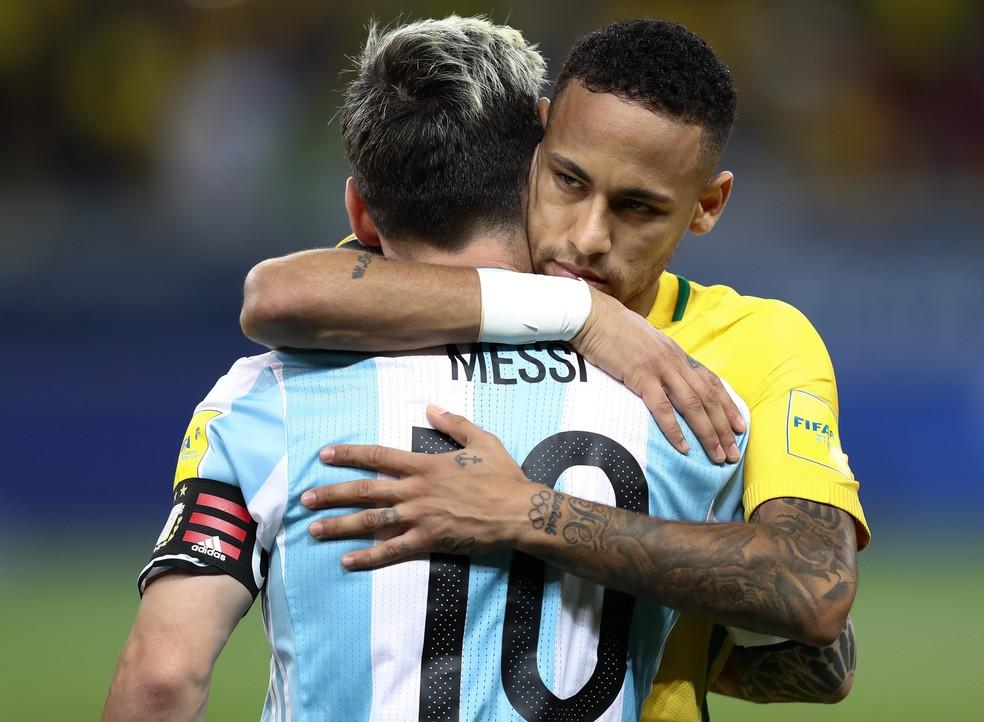 Messi e Neymar em encontro em 2016 — Foto: Agência Getty Images
