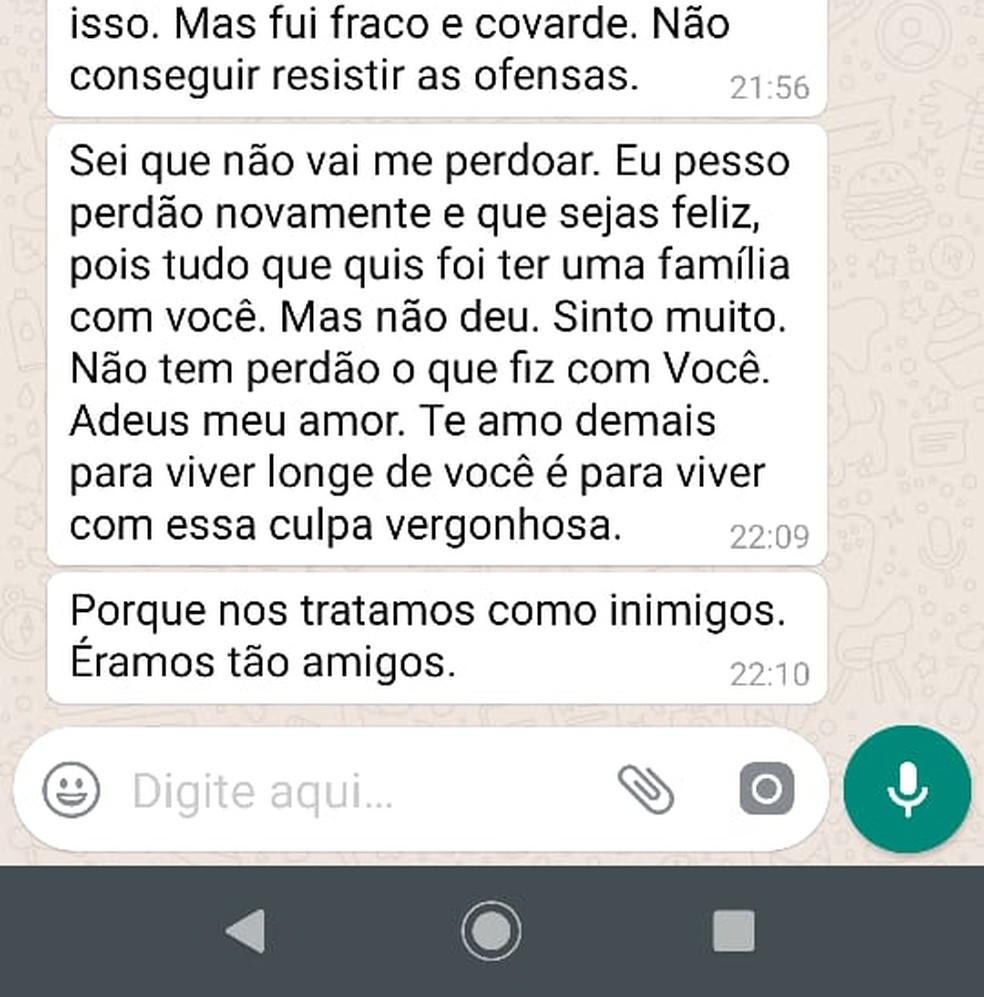 Homem manda mensagem dizendo estar arrependido após agredir mulher em Petrópolis, no RJ — Foto: Reprodução WhatsApp