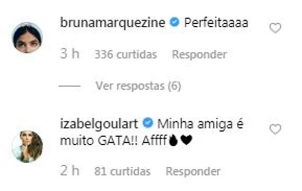 Giovanna Ewbank é elogiada por Bruna Marquezine e Izabel Goulart (Foto: Reprodução / Instagram)