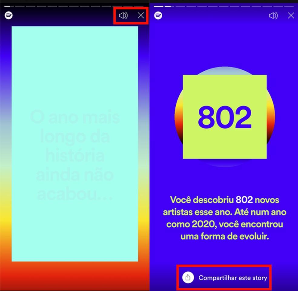 """Spotify Wrapped é uma sequência de """"stories"""" sobre hábitos de música do usuário — Foto: Reprodução/TechTudo"""
