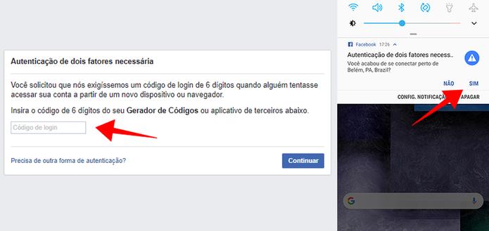 Confirme o login na sua conta com um código extra ou por meio da notificação no smartphone (Foto: Reprodução/Paulo Alves)