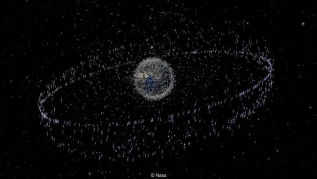 Ilustração da órbita de sucata espacial em volta da Terra (Foto: Nasa - via BBC News)