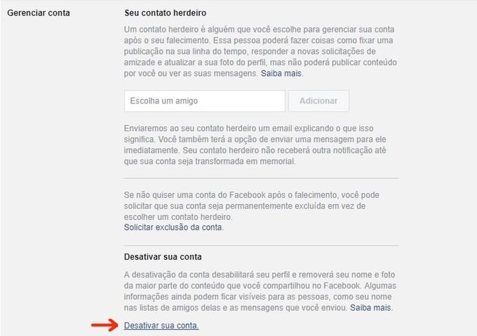 Link para desativação temporária de conta no Facebook (Foto: Reprodução/Raquel Freire)