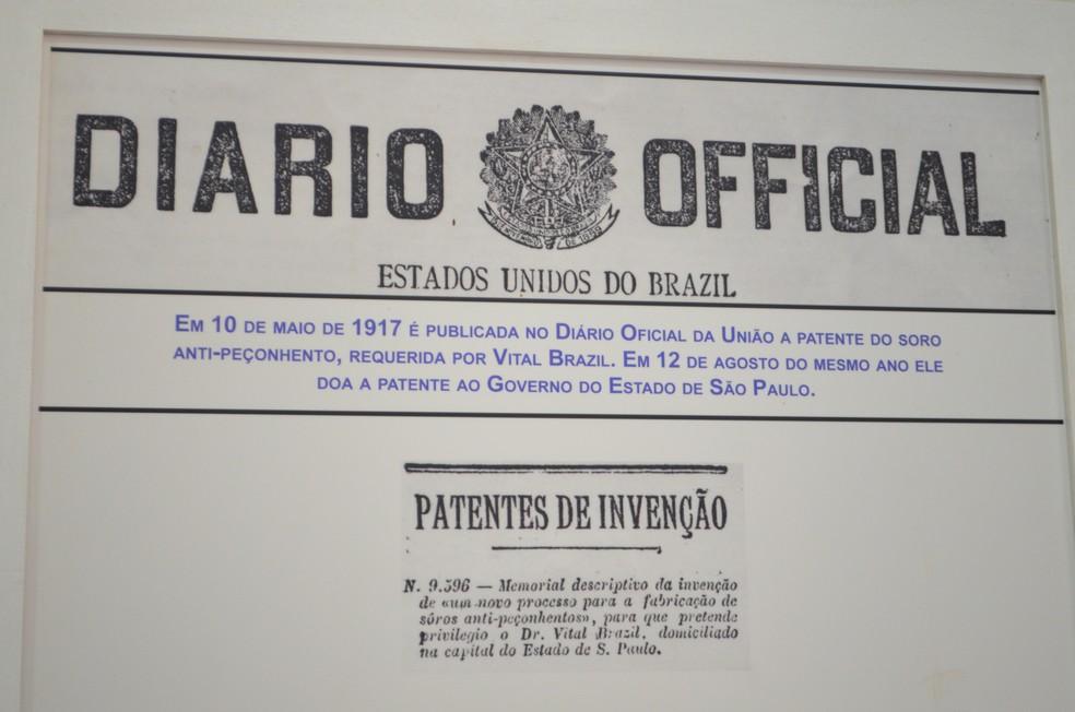 No museu é possível encontrar a reprodução do arquivo que comprova a doação da patente do soro antiofídico, em 1917 (Foto: Bruno de Oliveira/G1)
