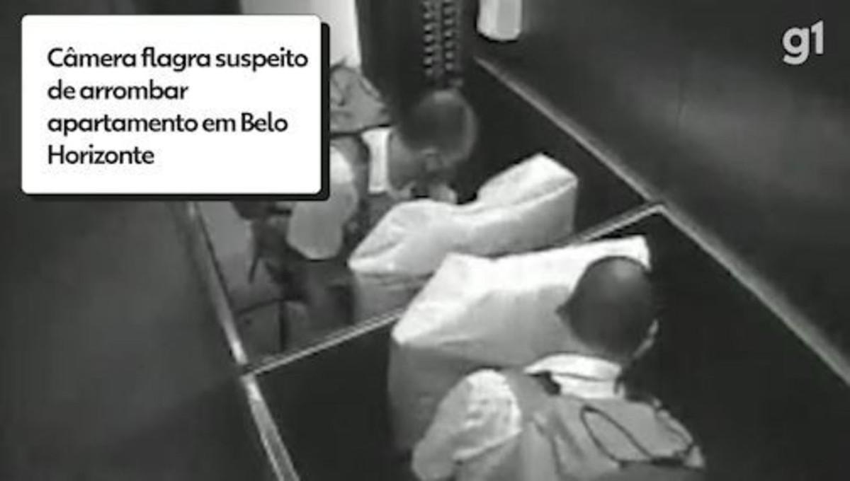 Suspeito arromba prédio no bairro Santo Antônio, em BH, e furta pertences de apartamento; VÍDEO