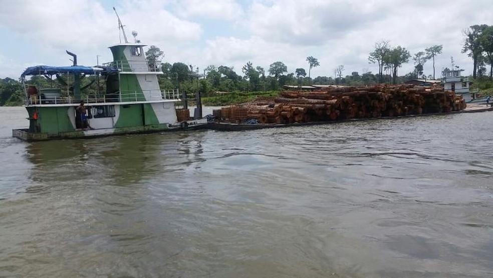 Quatro balsas foram apreendidas durante a operação (Foto: Divulgação/Semas)