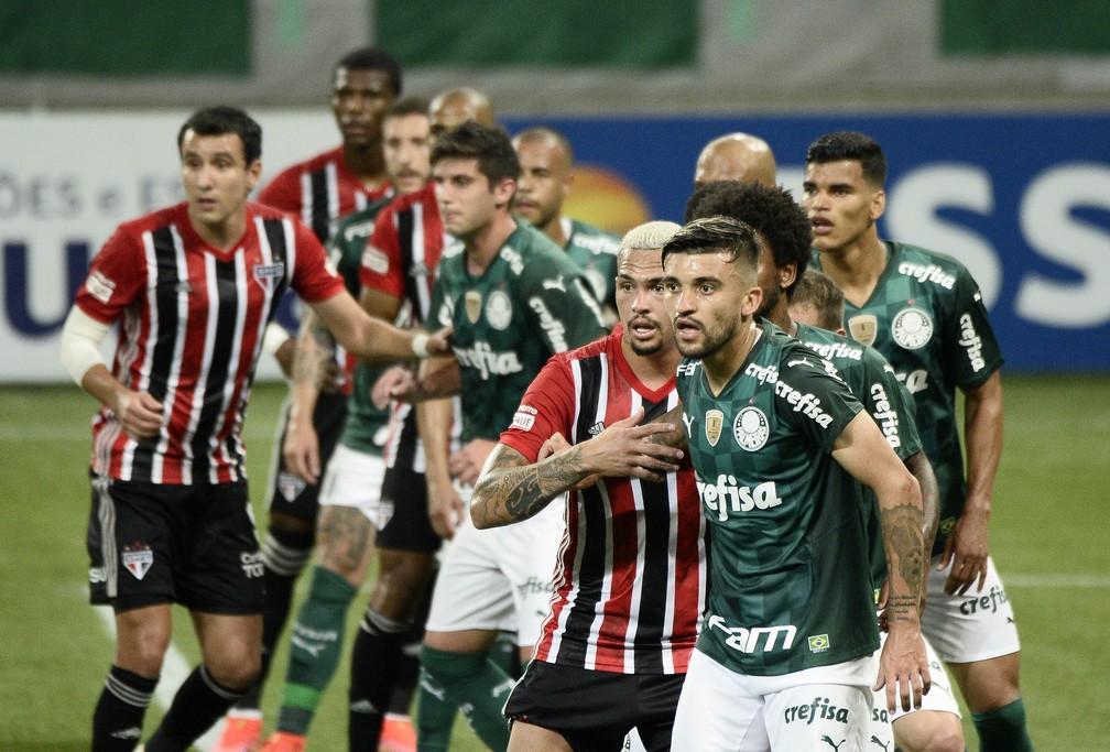 Palmeiras e São Paulo se enfrentaram na fase de grupos, e o Tricolor venceu por 1 a 0 — Foto: Marcos Ribolli