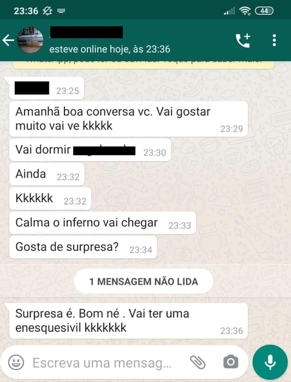 Suspeito de feminicídio enviou mensagens para a vítima minutos antes de cometer o crime em Jaraguá do Sul (SC) — Foto: Arquivo Pessoal