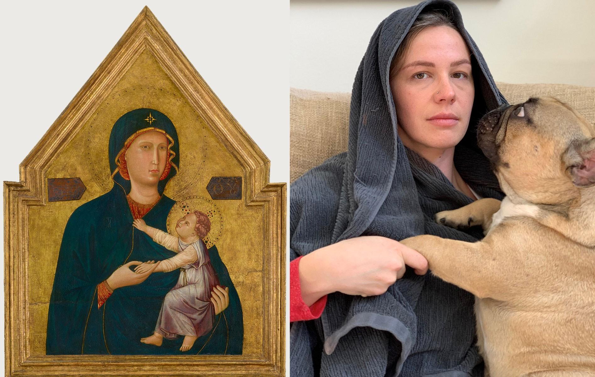 Pessoas em quarentena reencenam obras de arte famosas