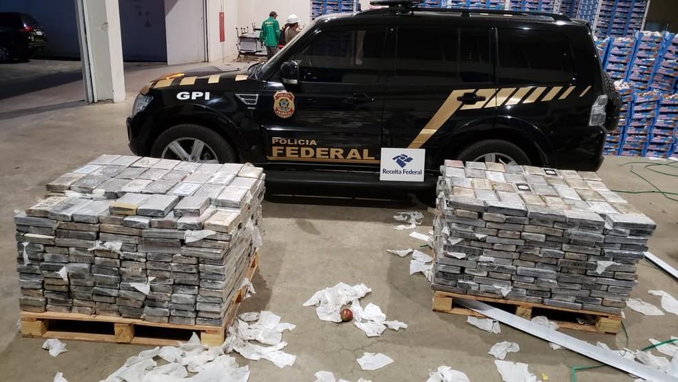 PF faz apreensão de cocaína no Porto de Natal — Foto: PF/divulgação
