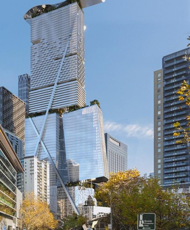 A ideia dos estúdios  Coop Himmelb(l)au e Architectures é uma cidade em um prédio (Foto:  Coop Himmelb(l)au e Architectures/ Reprodução)