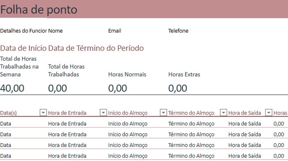 Excel Online tem modelo pronto de folha de ponto com controle de horas — Foto: Reprodução/Paulo Alves