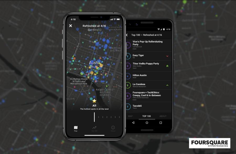 A nova tecnologia do Foursquare, chamada Hypertrending, permite ver onde celulares estão em tempo real (Foto: Divulgação/Foursquare)