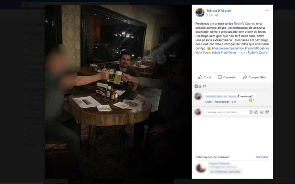 Amigos de Rodolfo o homenagearam nas redes sociais, em Goiás (Foto: Faceboook/Reprodução)