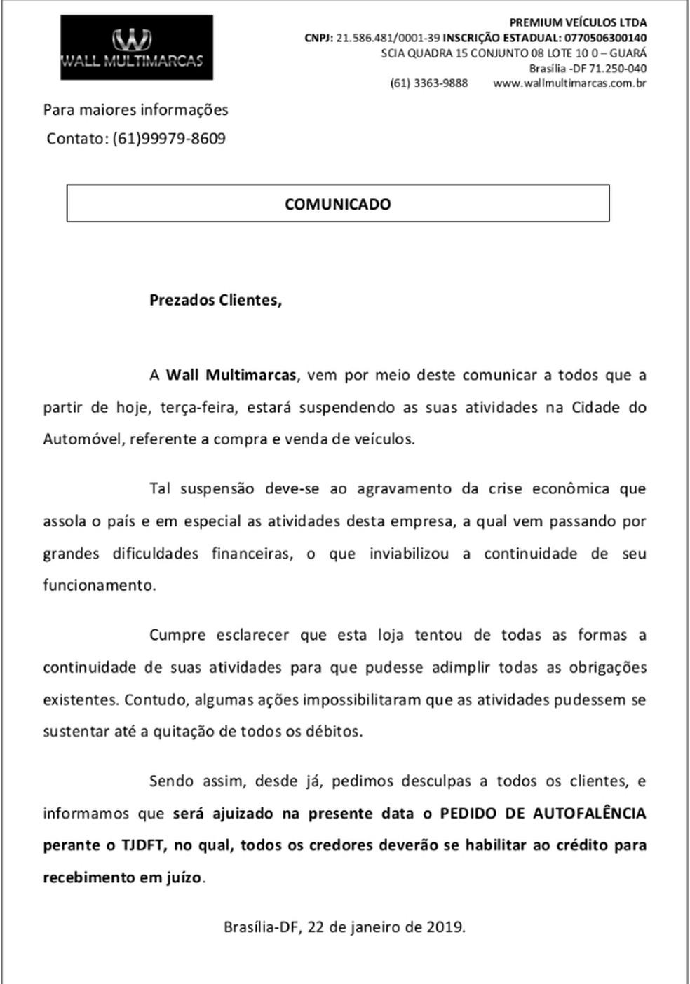 Comunicado divulgado pela empresa informando o pedido de falência da empresa — Foto: Reprodução