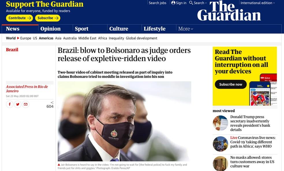 'The Guardian' (Reino Unido): Brasil: Bolsonaro é atingido por ordem de juiz que libera a divulgação de vídeo com palavrões — Foto: Reprodução/The Guardian