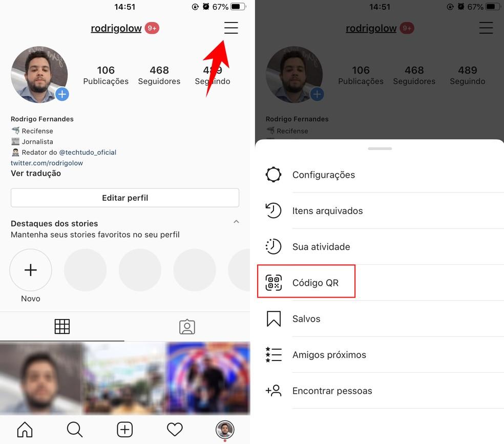 QR Codes devem ser acessados pelas configurações do Instagram — Foto: Reprodução/Rodrigo Fernandes
