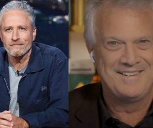 Jon Stewart e Pedro Bial | Scott Kowalchyk/CBS e Globo