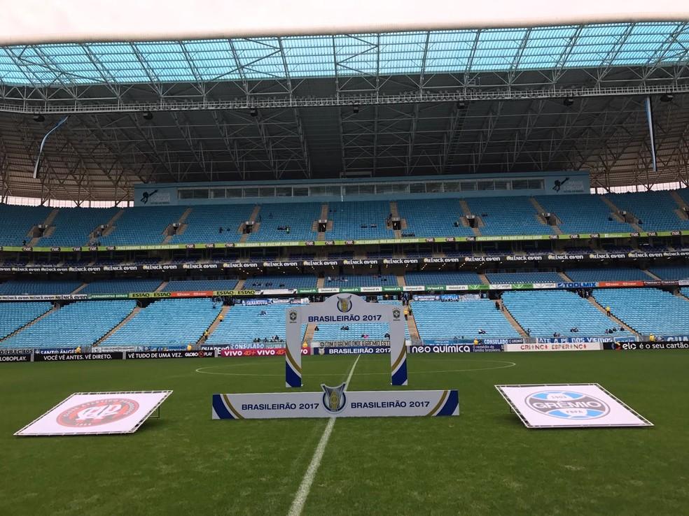 Grêmio x Atlético-PR foi disputado às 11h, na Arena do Grêmio, em Porto Alegre (Foto: Eduardo Moura)