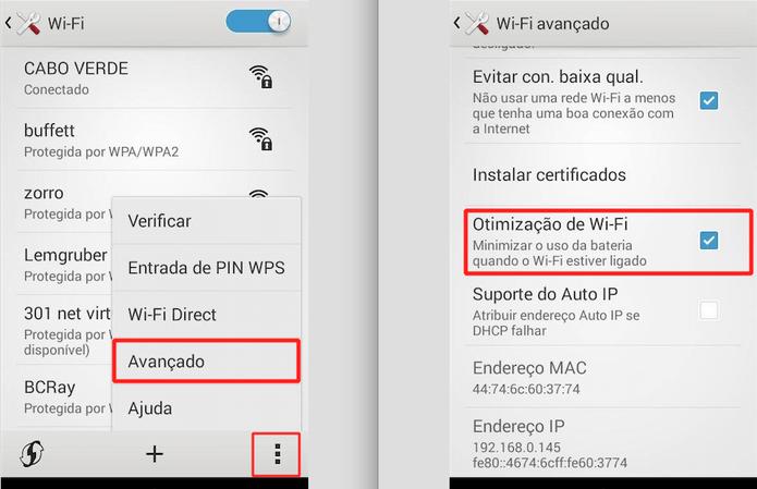 Assegure-se de que a Otimização de Wi-Fi esteja desmarcada no seu Android 4.4 ou superior (Foto: Reprodução)