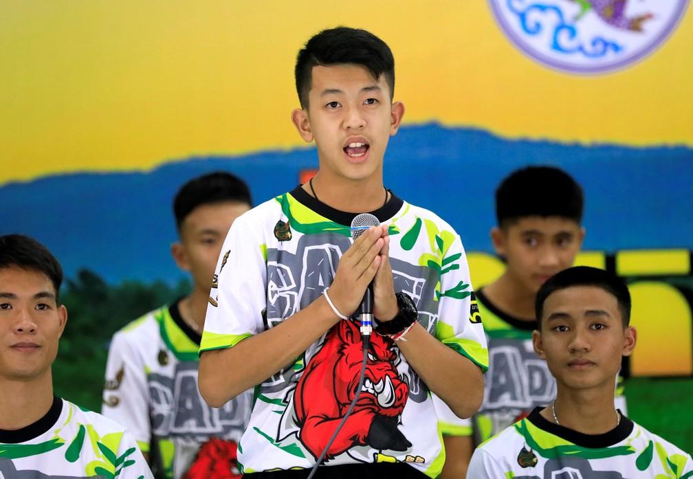 Pornchai Khamluang, um dos meninos preso em caverna na Tailândia (Foto: Reuters/Soe Zeya Tun)