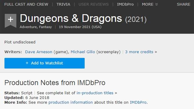 IMDb anuncia longa de Caverna do Dragão (Foto: Reprodução)