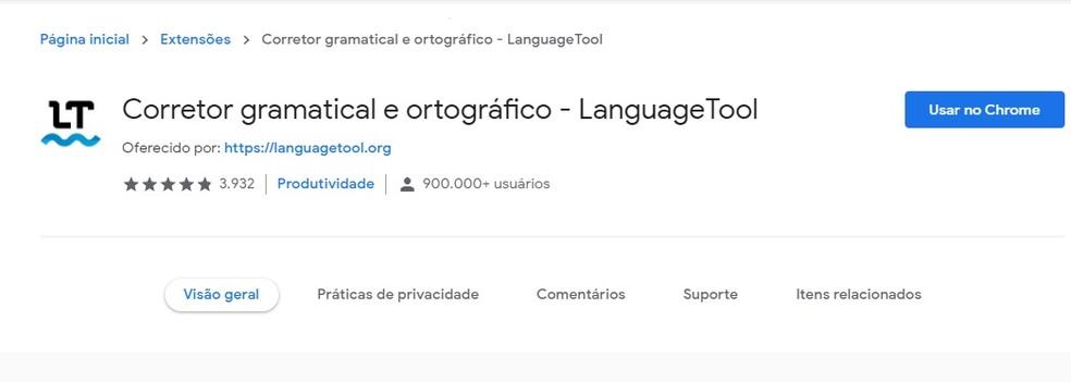 Extensão do Chrome tem corretor gramatical e ortográfico em vários idiomas — Foto: Reprodução/Carol Fernandes