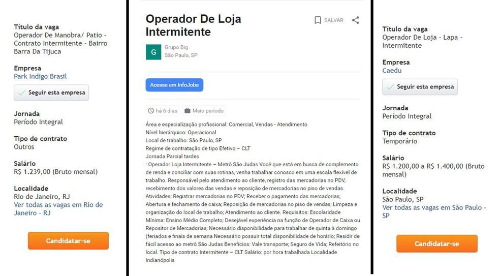 Anúncios de vagas para intermitentes da Park Índigo, Grupo Big e Caedu, no site de empregos Infojobs — Foto: Reprodução