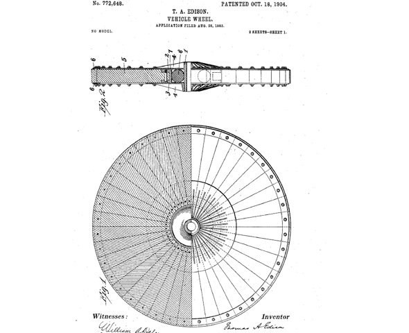 Rodas de borracha Thomas Edison (Foto: Google Patents)