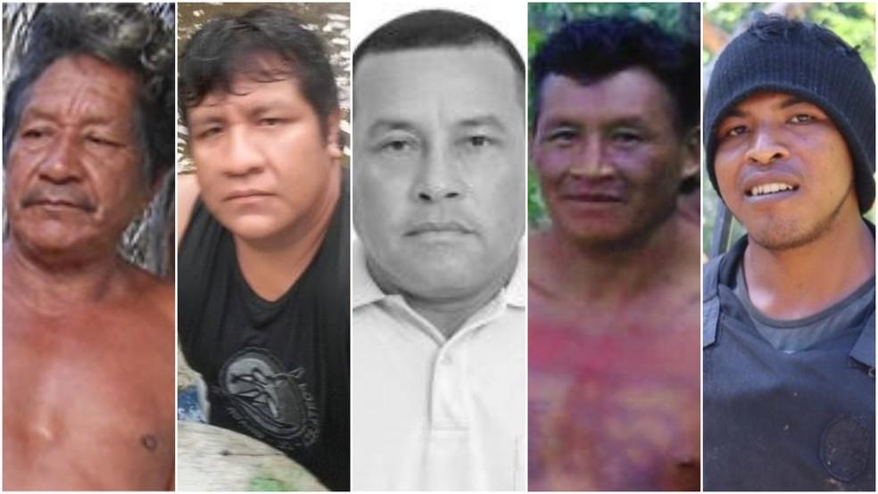 Cinco dos treze indígenas assassinados em menos de quatro anos no Maranhão. — Foto: CIMI