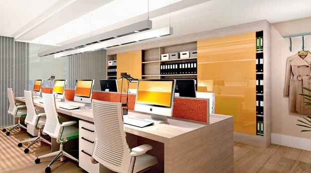 """Priscilla Bencke e um escritório criado com os princípios da neuroarquitetura. """"São espaços que favorecem as pessoas"""", diz (Foto: Divulgação)"""