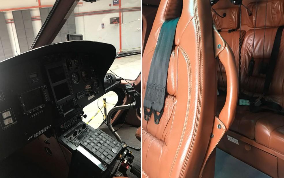 Interior de helicóptero que foi periciado em SP (Foto: Divulgação)