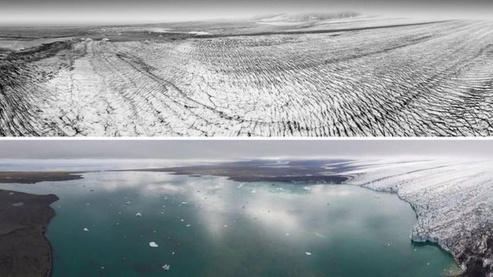 Imagens do glaciar Breiðamerkurjökull em 1989 (em cima) e 2019 (embaixo) mostram camada de gelo perdida em três décadas — Foto: NATIONAL LAND SURVEY OF ICELAND/KIERAN BAXTER via BBC