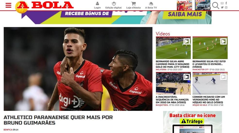 Athletico recusou a proposta do Benfica por Bruno Guimarães — Foto: Reprodução