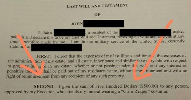 Militar ofereceu US$ 500 para quem aparecesse em seu funeral fantasiado de 'Morte' (Foto: Reprodução/Imgur/JonyTones)