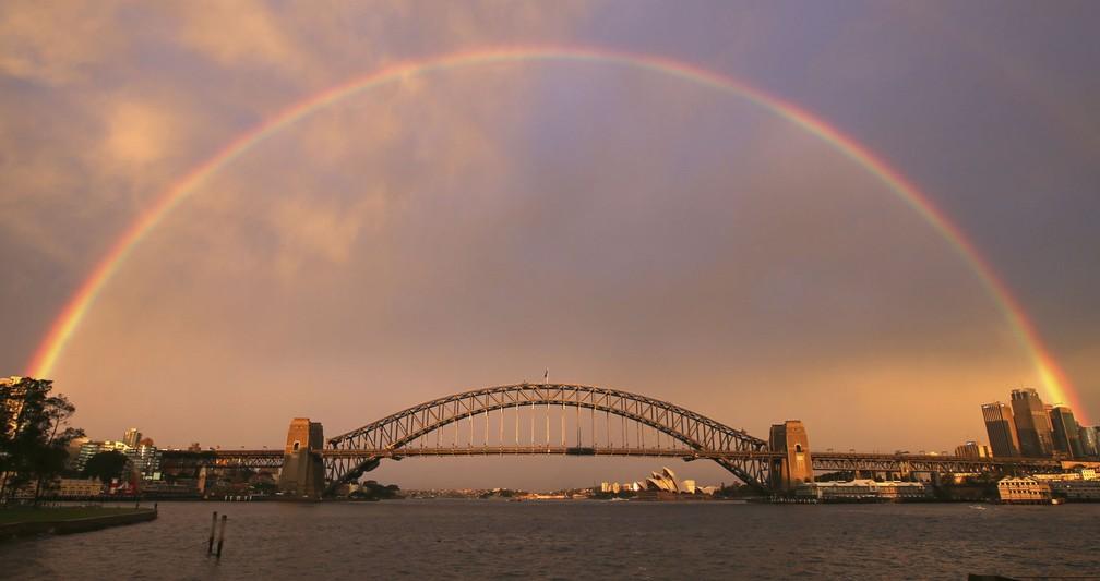 Ponte da Baía de Sydney (Harbour Bridge), na Austrália — Foto: Rick Rycroft/AP