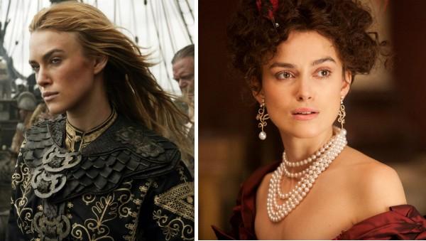 A atriz Keira Knightley em cena de 'Piratas do Caribe' e 'Anna Karenina' (Foto: Reprodução)