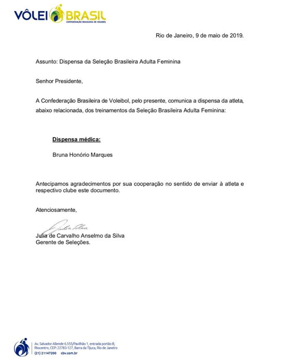 Comunicado da CBV sobre a dispensa da aposta Bruna Honório — Foto: Reprodução