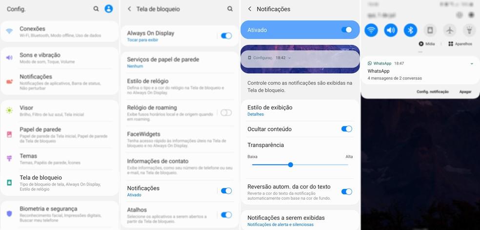 Como ocultar conteúdo de notificações de um celular Samsung — Foto: Reprodução