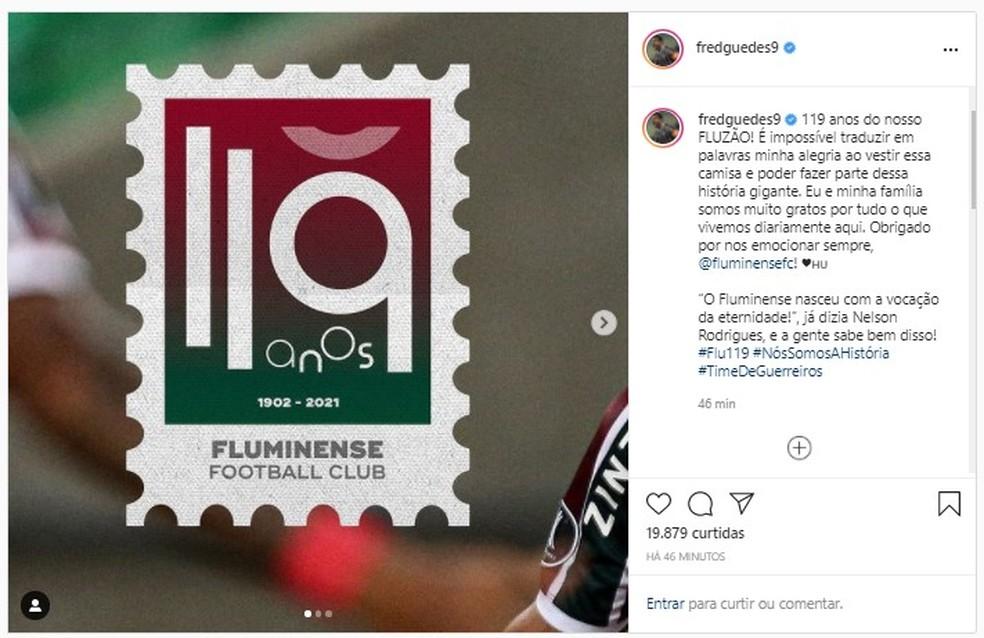 Fred parabeniza o Fluminense — Foto: Reprodução