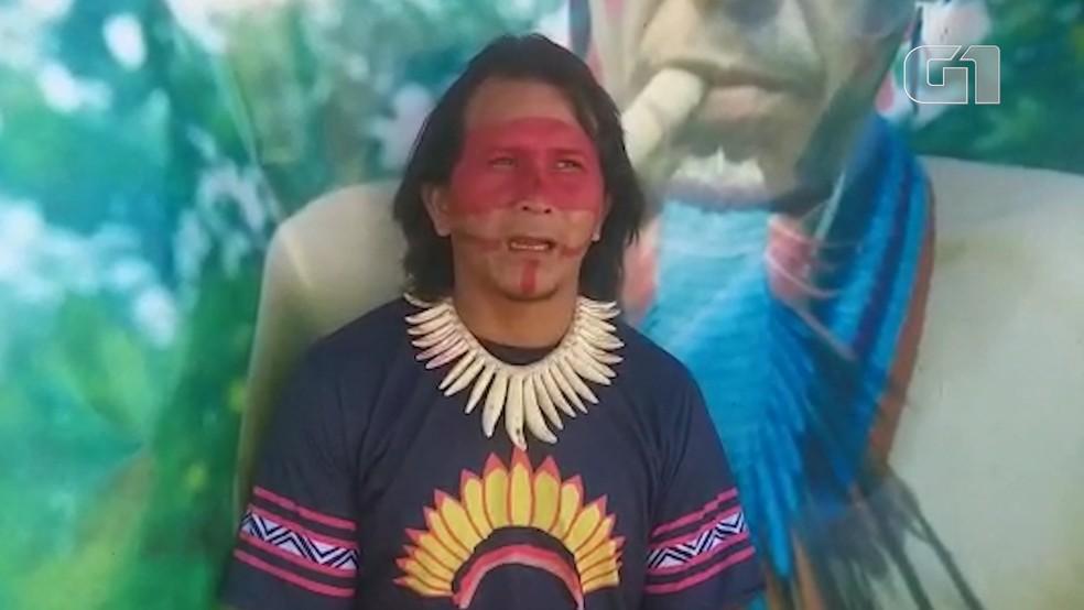Cacique Irakadju Ka'aporé liderança indígena na região do Alto Turiaçu, no Maranhão — Foto: Índios Ka'apor