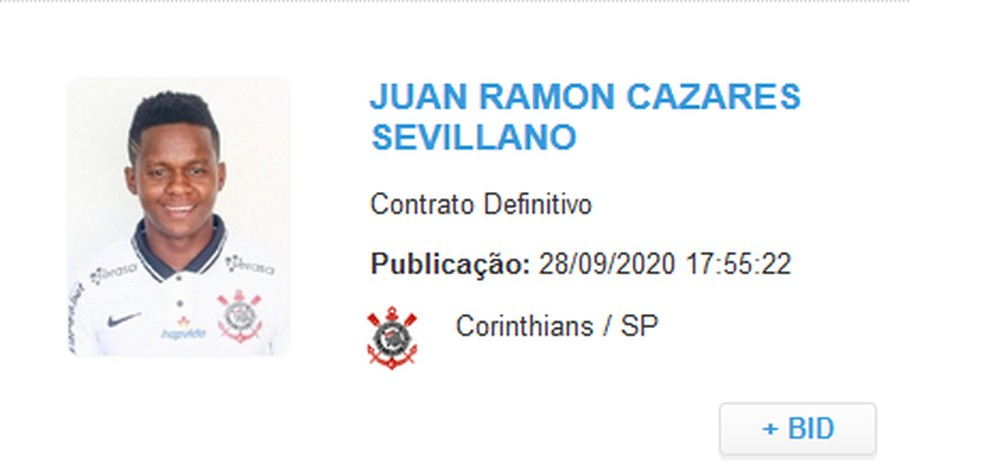Cazares aparece no BID e pode estrear pelo Corinthians — Foto: Reprodução