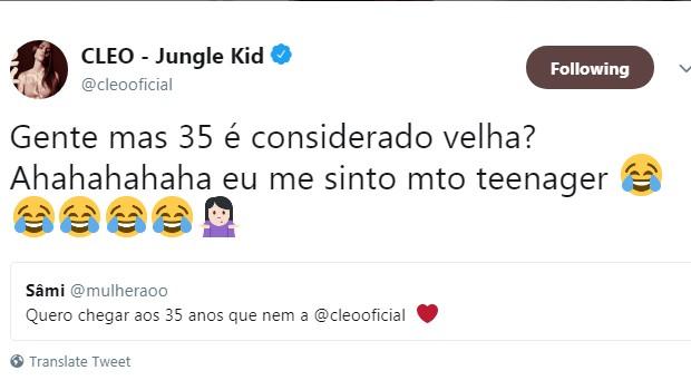 Cleo dá resposta a seguidora em rede social (Foto: Reprodução/Twitter)