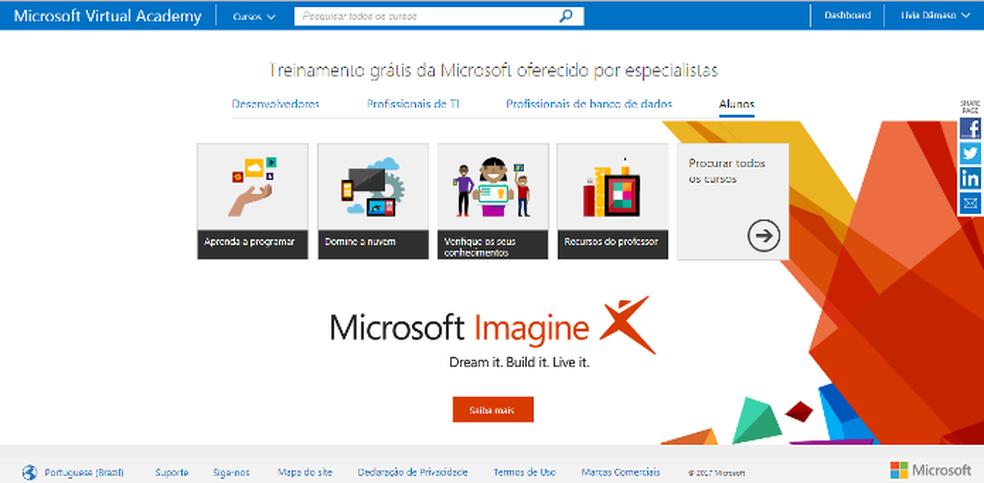 A Microsoft disponibiliza oferece cursos gratuitos em TI por meio do site Microsoft Virtual Academy (Foto: Foto: Reprodução/Lívia Dâmaso)